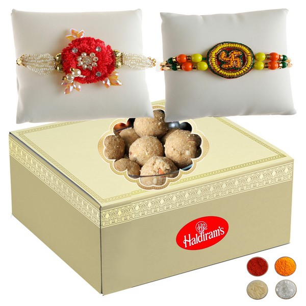 Handcrafted Rakhi with 500g Besan Laddu