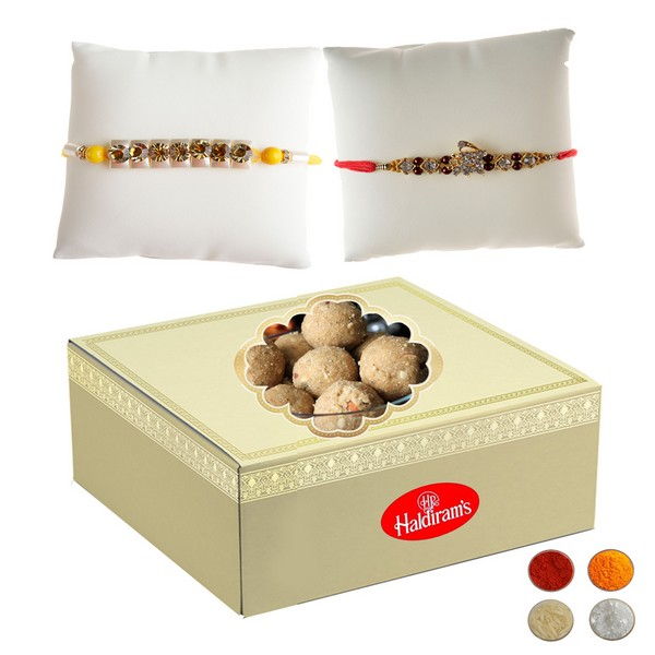 Stone Studded Rakhi with 500g Besan Laddu