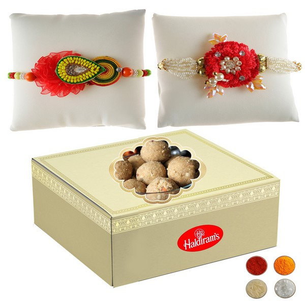 Two Handcrafted Rakhi with 500g Laddu