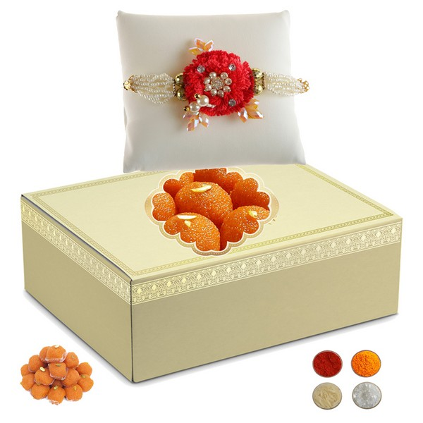 Handcrafted Rakhi with 500g Motichoor Laddu