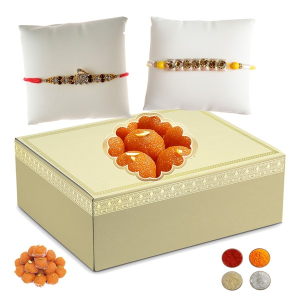 Set of Two Rakhis with 500g Laddu