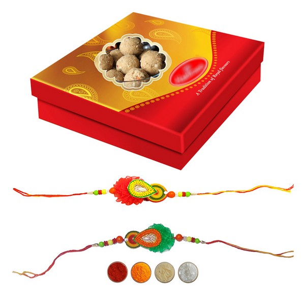 Two Handcrafted Rakhis with 500g Laddu