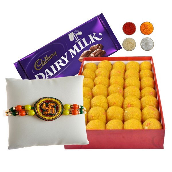 Swastika Rakhi with 500g Motichoor Laddu