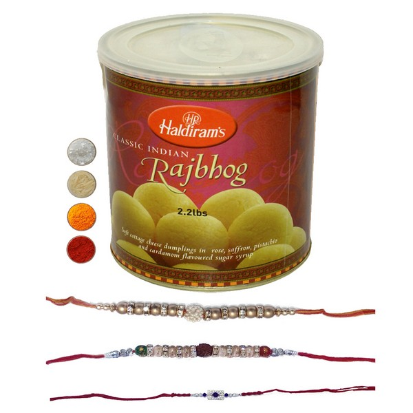 Set of Three Rakhi with Rajbhog