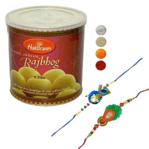 Fancy Handcrafted Rakhi with Rajbhog