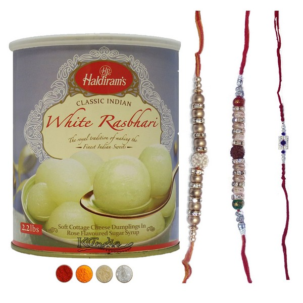 Set of Three Rakhis with Rasbhari
