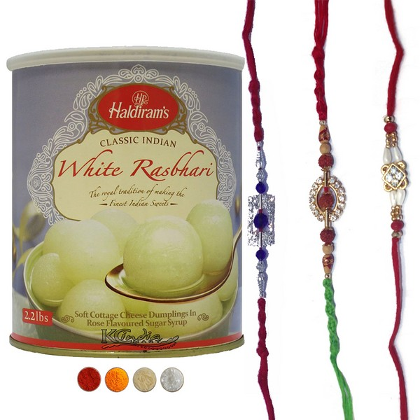 Rakhi with Haldiram's Rasbhari Sweet