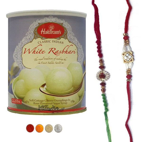 Elegant Rakhi Set with Rasbhari Sweets