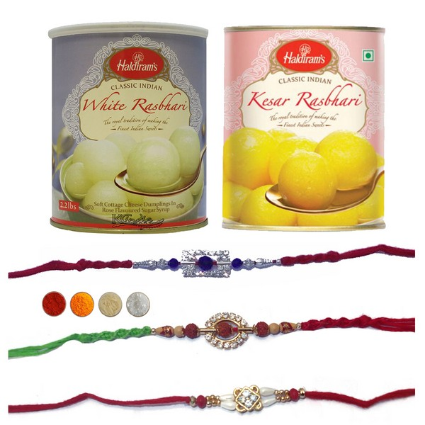 Rakhi Set of Three with Rasbhari