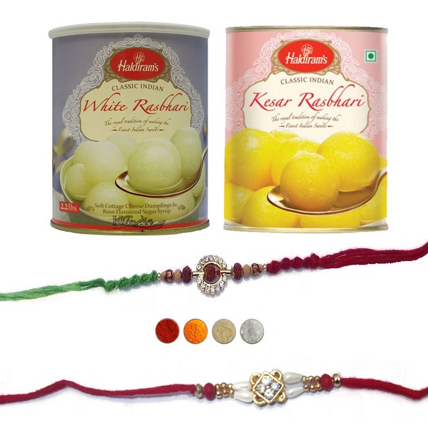 Two Precious Rakhis with Rasbhari