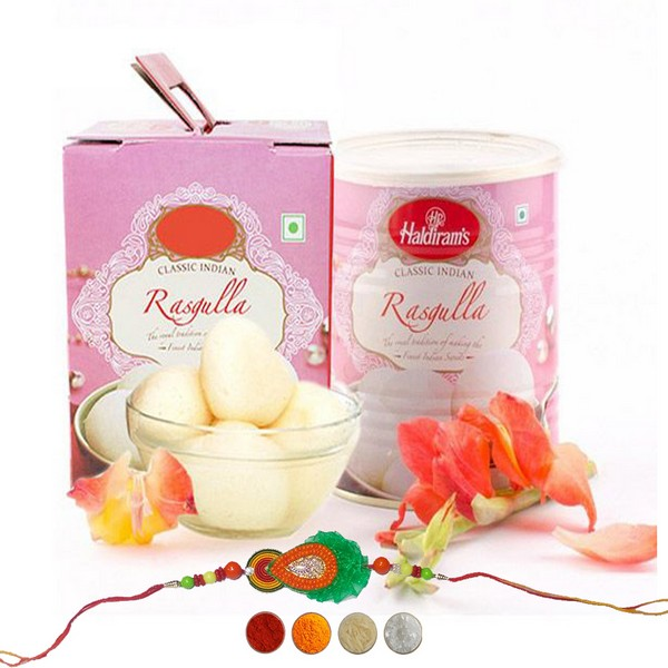 Handcrafted Rakhi with Rasgulla