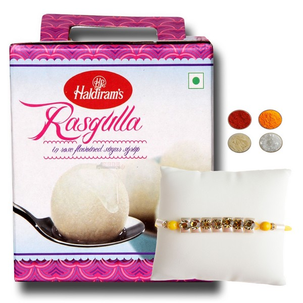 Stone Studded Rakhi with Rasgulla