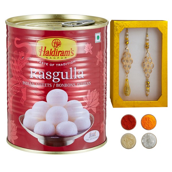 Golden Bhaiya Bhabhi Rakhi with Rasgulla