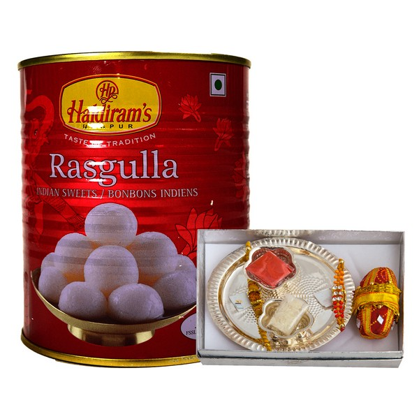 Rakhi Thali Set with Rasgulla