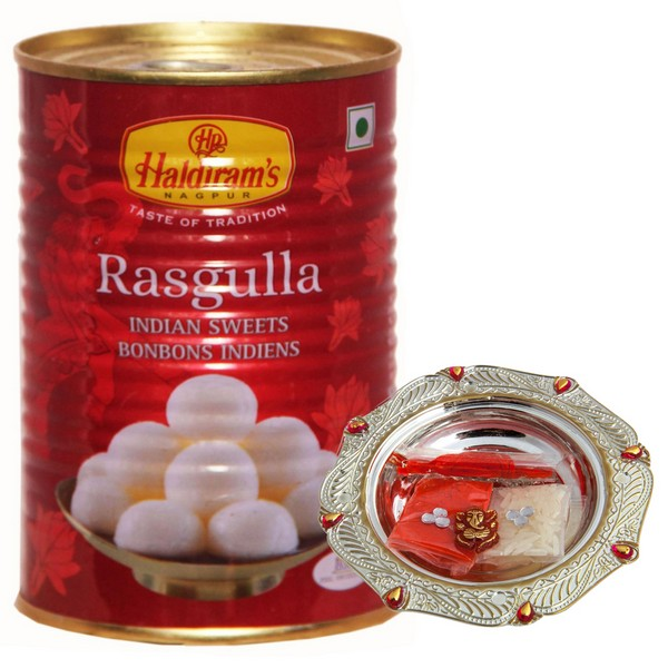 Rakhi Pooja Thali Set with Rasgulla