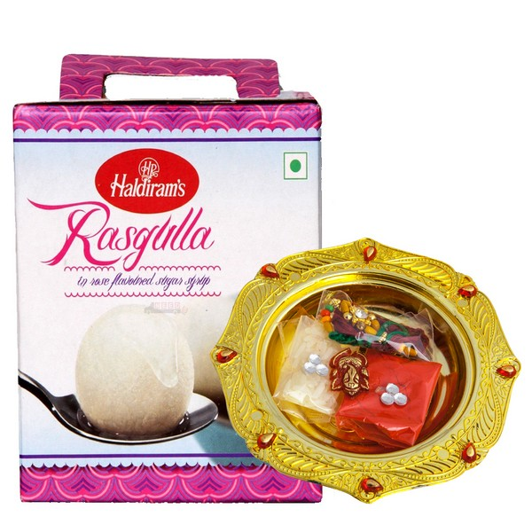 Gold Plated Rakhi Thali with Rasgulla