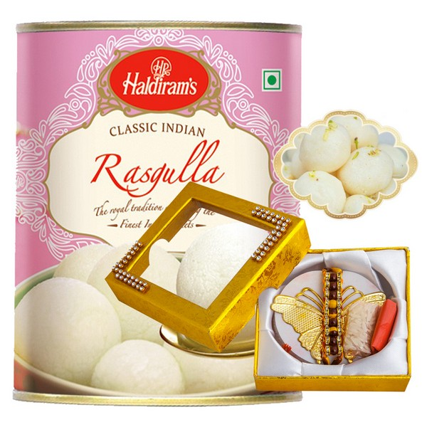 Butterfly Rakhi with Rasgulla