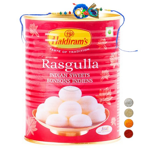 Peacock Rakhi with Rasgulla
