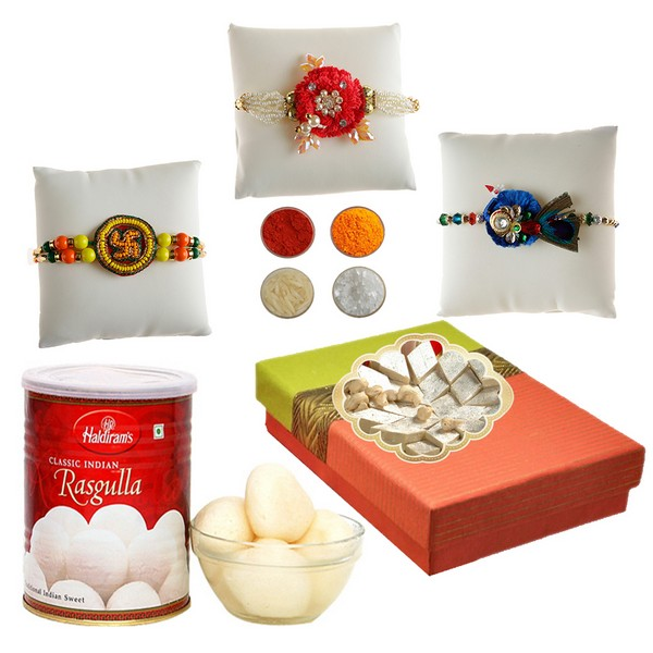 Handcrafted Rakhi Set with Sweets