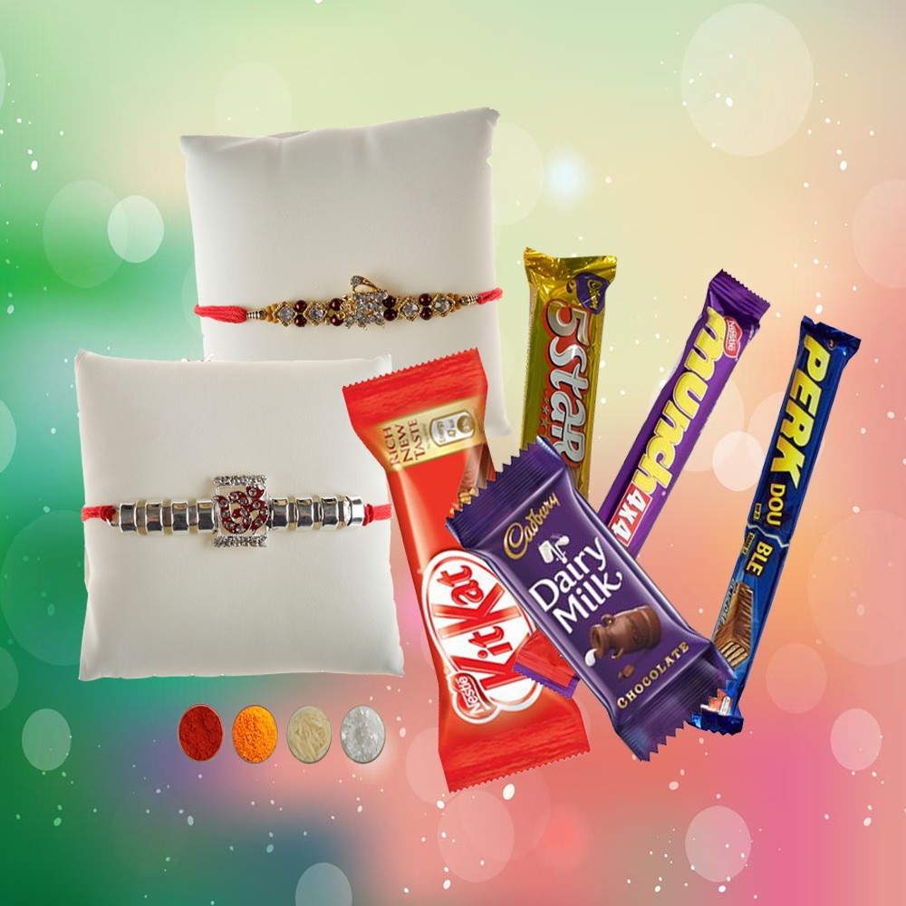 OM and Shri Rakhis with Chocolates