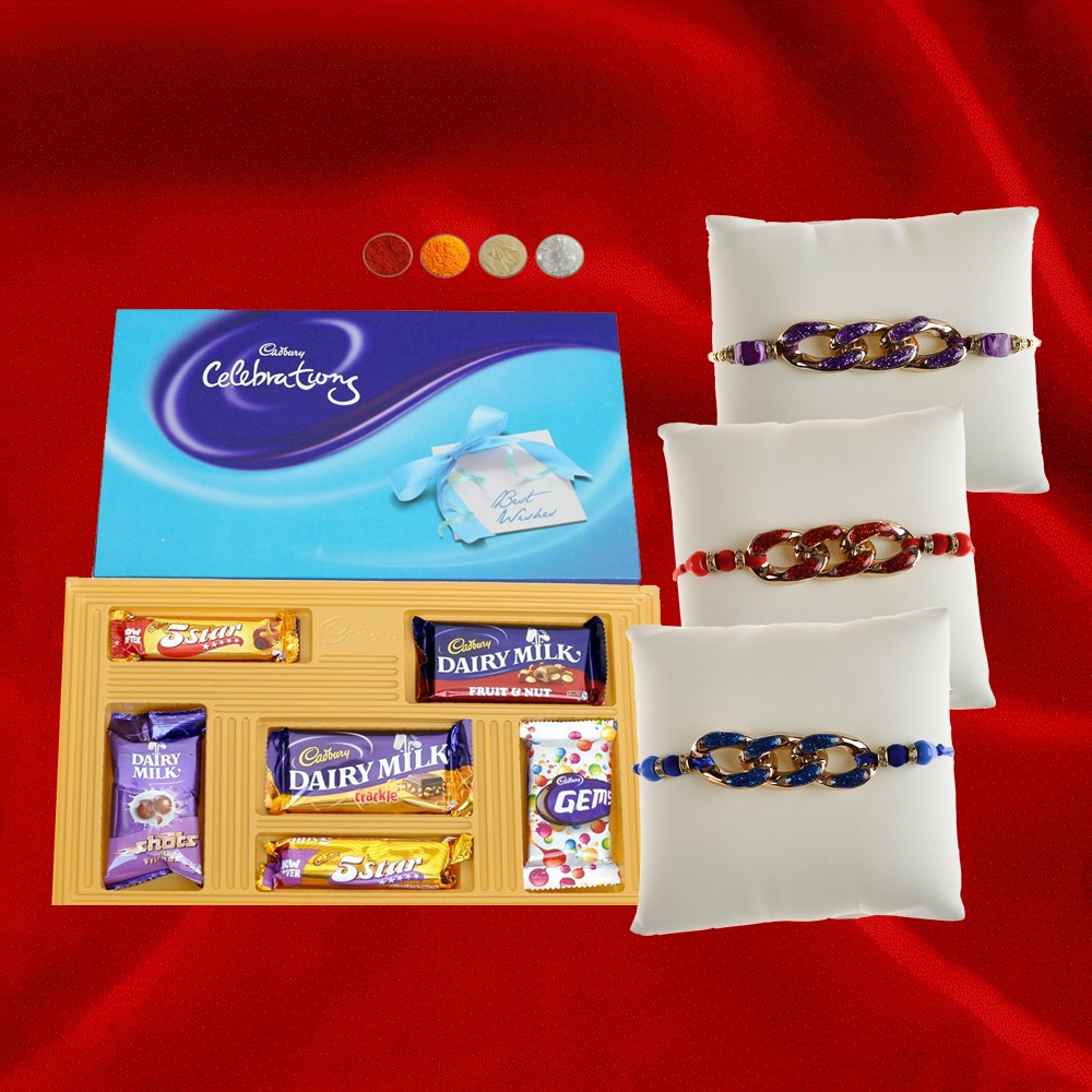 Set of 3 Rakhis with Cadbury Celebration