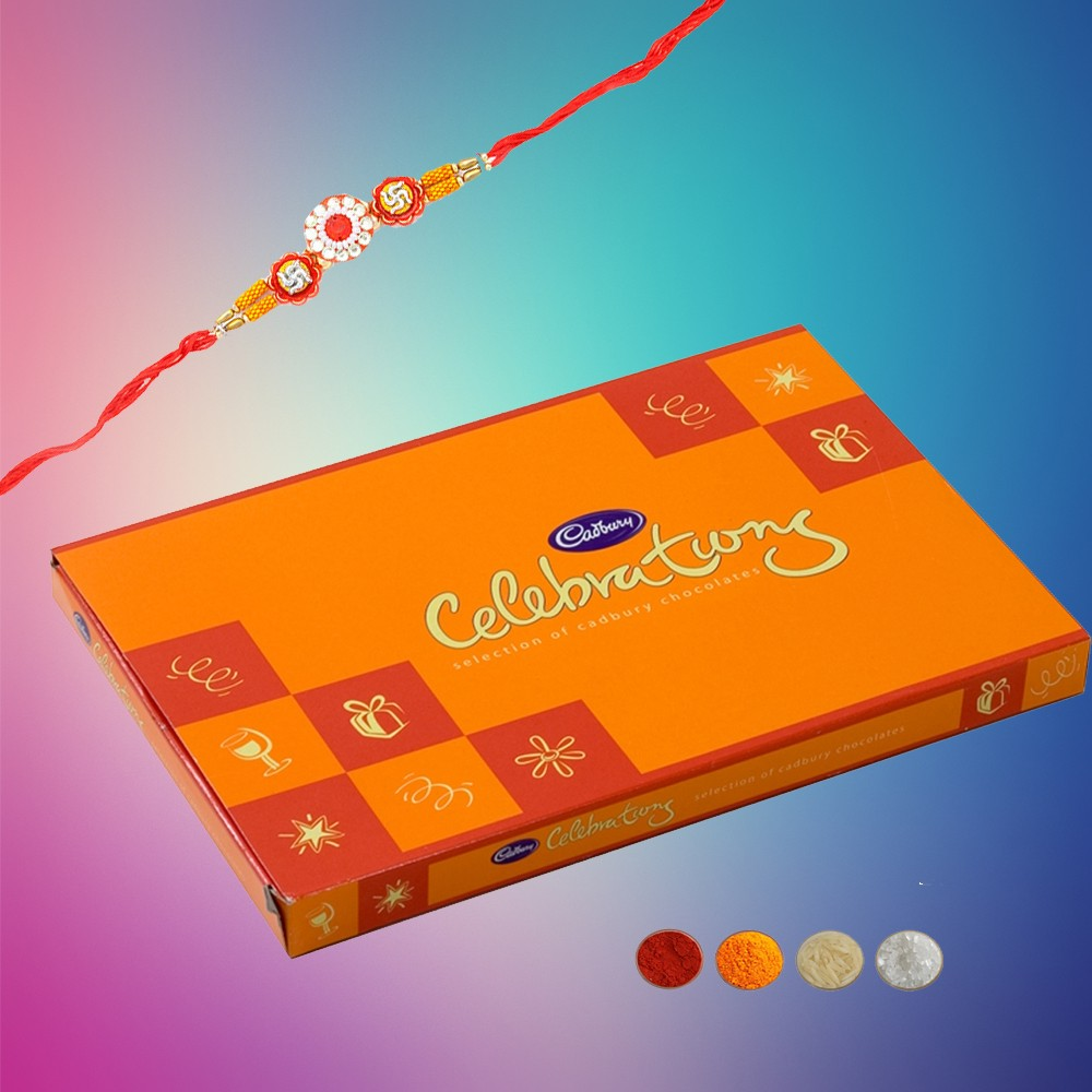 Swastika Rakhi with Chocolates