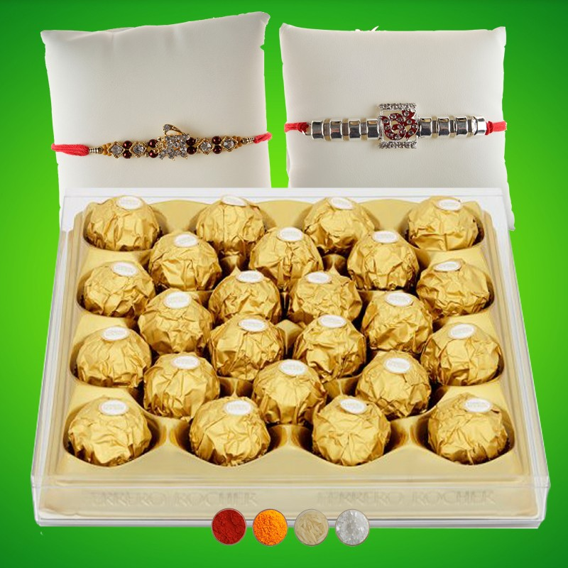 OM n Shri Rakhi with Rocher Chocolates