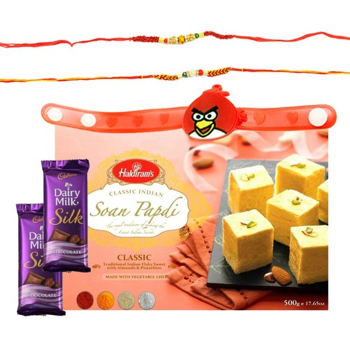 Fancy Rakhi Set with Soan Papdi