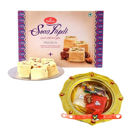 Rakhi Thali Set with 1kg Soan Papdi