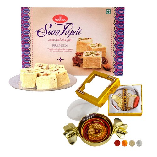 Premium Rakhi Set with 1kg Soan Papdi