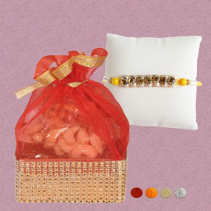 Designer Stone Rakhi with 200g Mixed Dryfruits