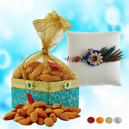 Peacock Designer Rakhi with 200g Almonds
