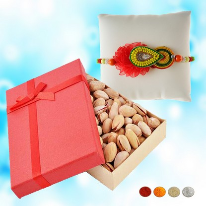 Handcrafted Rakhi with 200g Pistachios