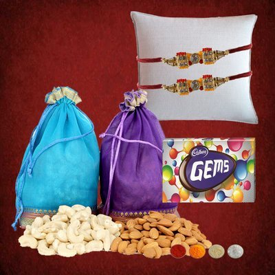 2 Rakhis with Dryfruits Hamper