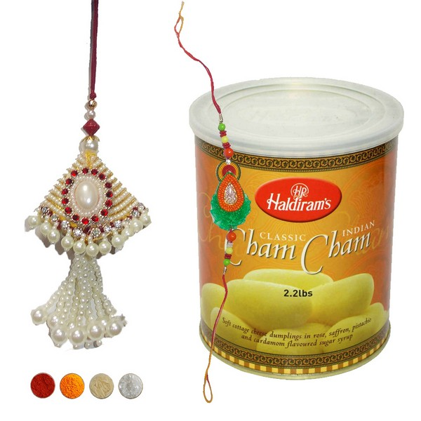 Bhaiya Bhabhi Rakhi Set with Cham Cham
