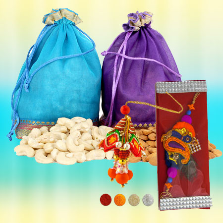 Handcrafted Lumba and Rakhi with Dryfruits