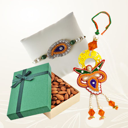 Designer Bhaiya Bhabhi Rakhi with Almonds