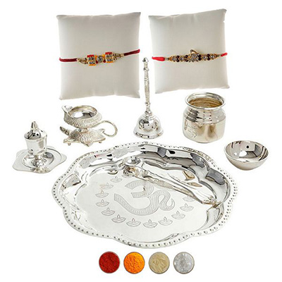 Set of Two Rakhi with Premium Rakhi Thali