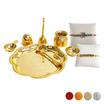 Premium Rakhi and Pooja Thali Set