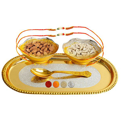 Two Rakhis with Premium Dryfruit Surprise