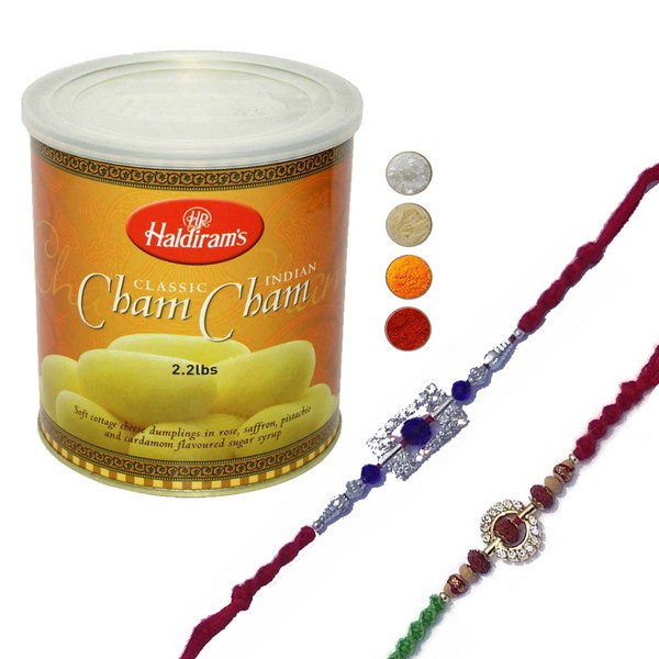 Set of Two Rakhi with Cham Cham