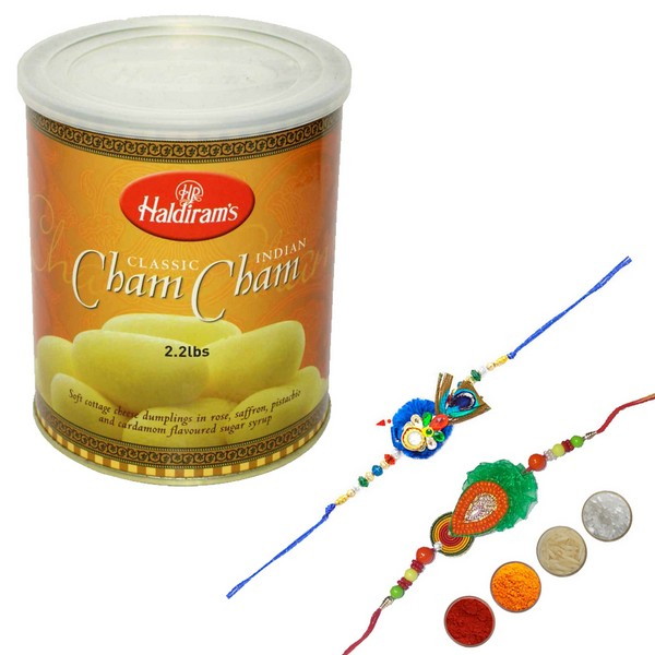 Fancy Rakhi Set with Cham Cham