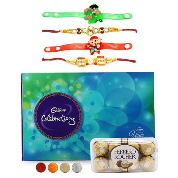 Set of 4 Rakhi with Chocolates