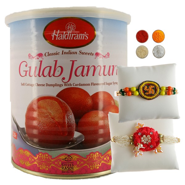 Auspicious Rakhi with Sweets Combo