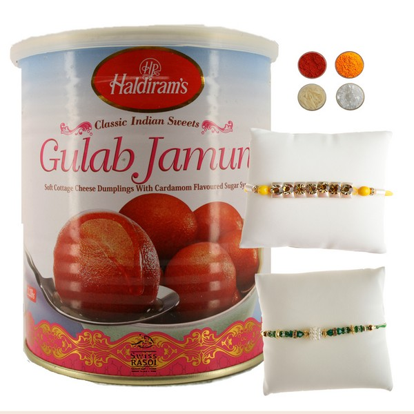 Traditional Rakhi Thread with Gulab Jamun