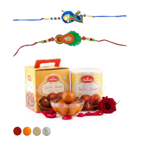 Handcrafted Rakhi with Sweets Combo