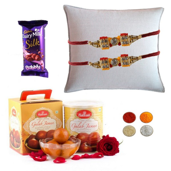 Set of Two Rakhi with Gulab Jamun