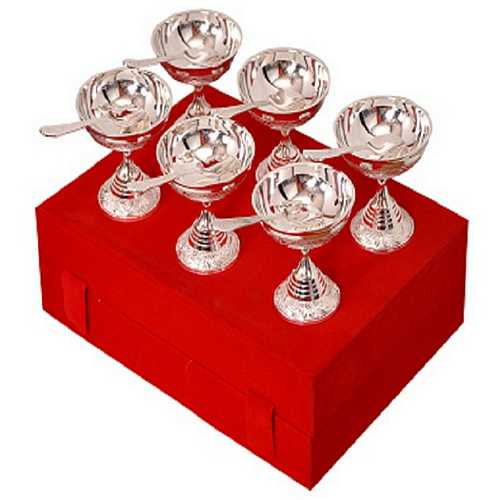 Silver Coated Brass Premium Ice Cream Dessert Bowls