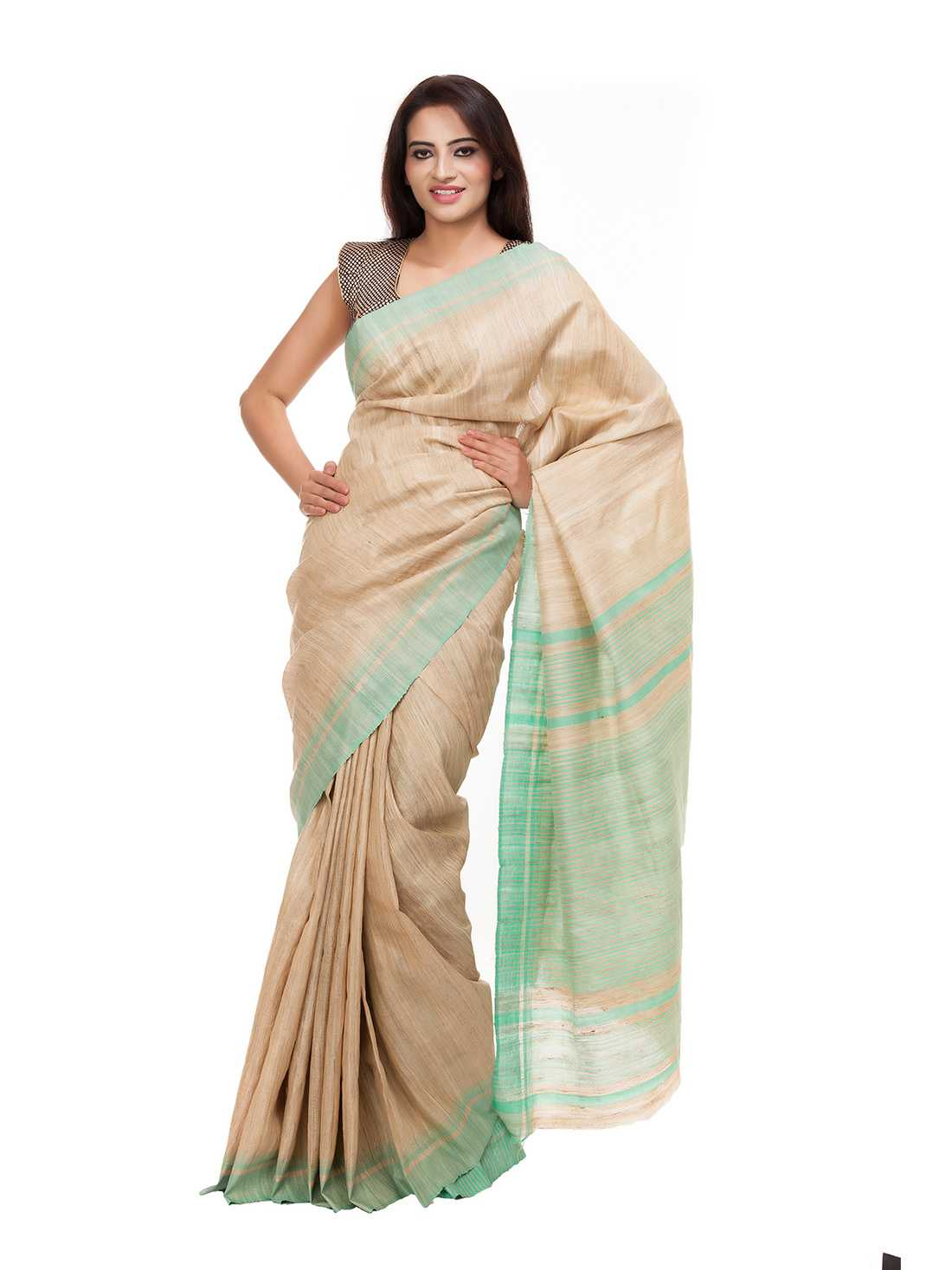 Beize and Sea Green Silk Saree