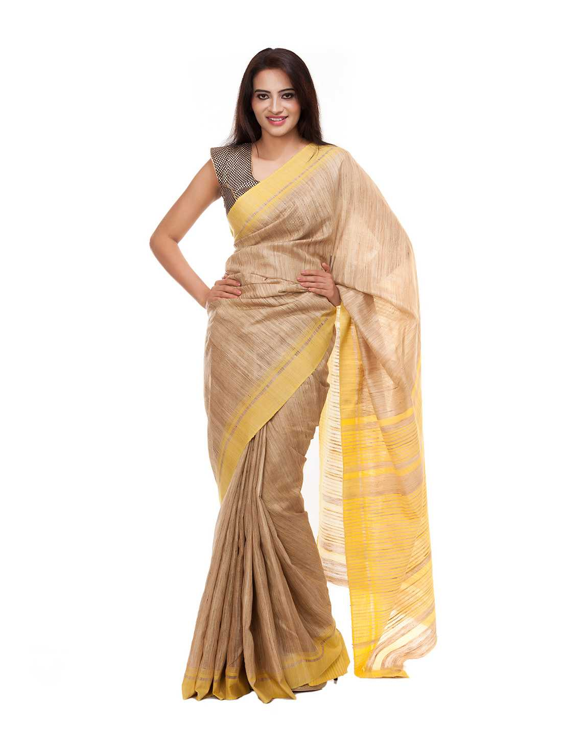Beize and Yellow Silk Saree